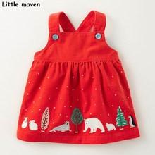 Pouco maven 2019 outono crianças correias vestidos para meninas do bebê roupas da menina de algodão animais apliques vermelho cintas vestido
