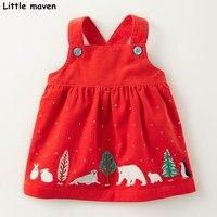 Pouco maven crianças cintas vestidos para meninas outono bebê roupas de menina de Algodão chaves vestido de animal print
