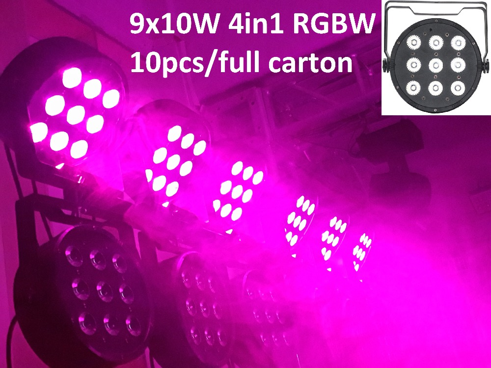 10xLot DHL Led Par Light 9X10W 4in1 RGBW Par Led Stage Lighting Flat Slim Par Can Strobe Laser Projector DJ Disco DMX Controller 2xlot 2016 led par can 7x10w rgbw 4in1 quad color mini par led dmx dj disco stage lights 70w moving head strobe effect projector