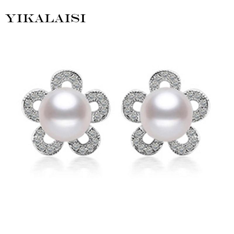 ee1303315bdc Yikalaisi 2017 nueva moda natural de agua dulce perla pendiente con 925- esterlina-plata-joyería 7-8 MM perlas para las mujeres