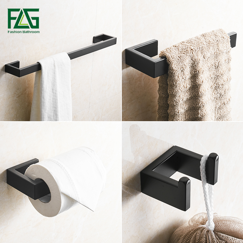 FLG 304 Stainless Steel Black Bathroom Accessories Set Towel Bar Robe hook Paper Holder Wall Mounted Bath Hardware Sets