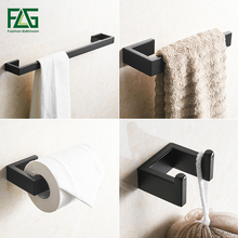 FLG 304 Stainless Steel Black Bathroom Accessories Set Towel Bar Robe hook Paper Holder Wall Mounted Bath Hardware Sets G124-4B nickel brushed 304 stainless steel next bathroom accessories set single towel bar cloth hook paper holder bath hardware sets