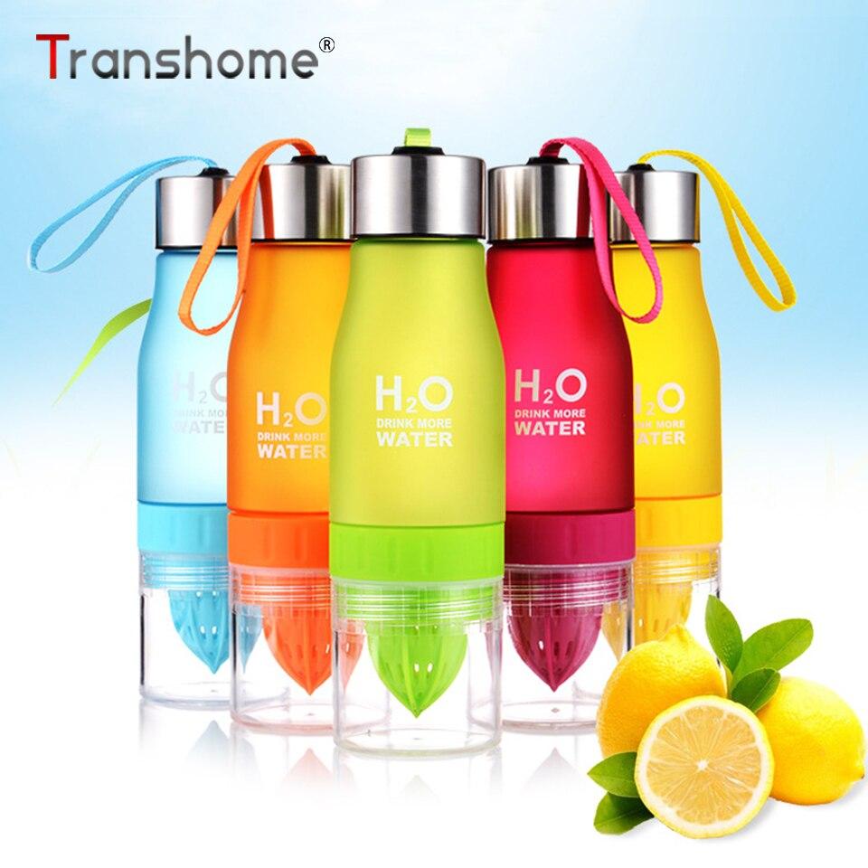 Transhome Infuser Water Bottle 650ml Fruit Juice Plastic Drinking Bottles for Sports Travel Squeeze Water Bottles Drinkware
