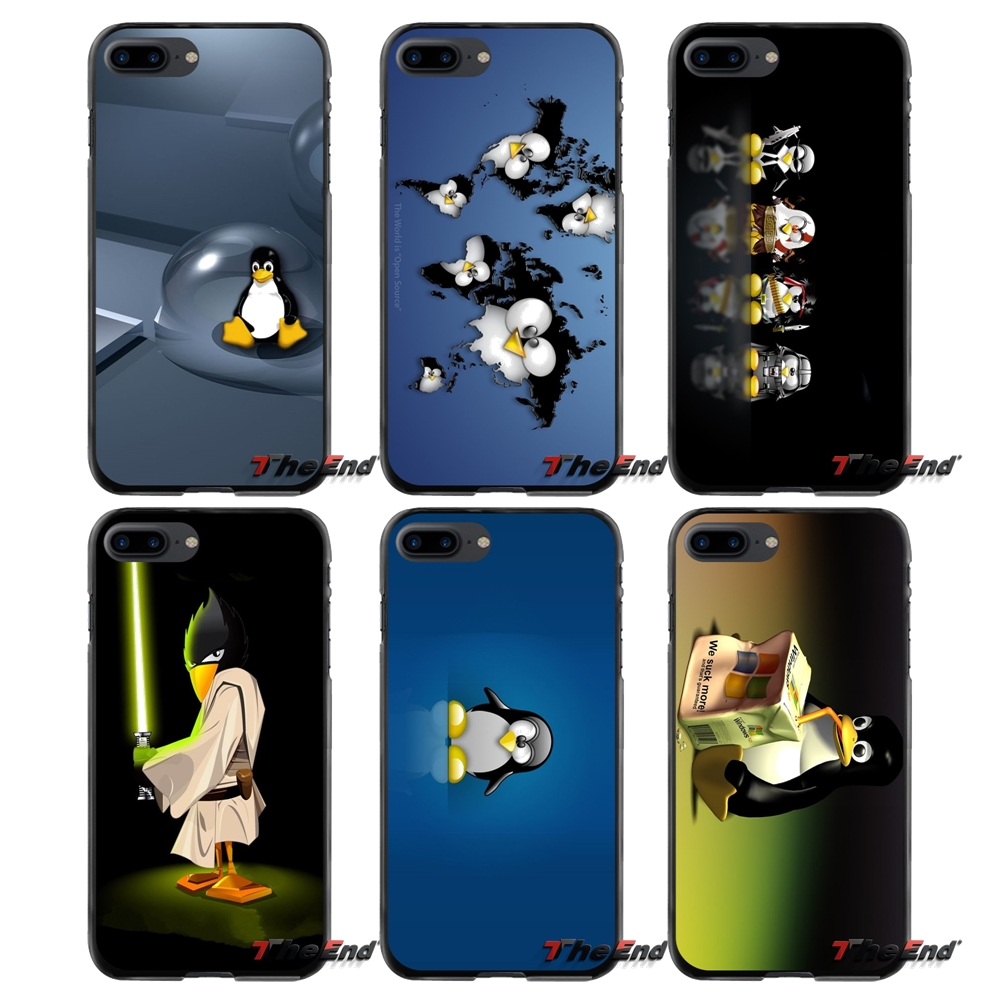 Linux Penguin Accessories Phone Cases Covers For Apple iPhone 4 4S 5 5S 5C SE 6 6S 7 8 Plus X iPod Touch 4 5 6