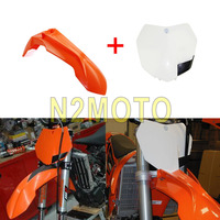 Motorcross Dirt Bike Front Fender Front Number Plate for KTM 125 250 300 350 450 500 XCF W SX F 2013 2015 White Orange Mud Guard