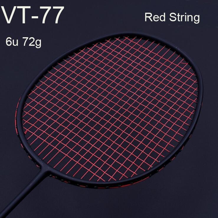 1 pc ZARSIA 30LBS VT-77 Attack Urltra-Light 6U 72g G4 Badminton Racket 100% carbon badminton racquet black badminton racket