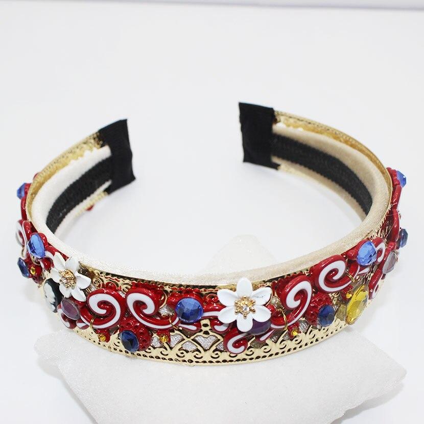 16 new European Baroque exaggerated hoop gem gold hoop crown Flower Hair Accessories Vintage Wedding Accessories 0328