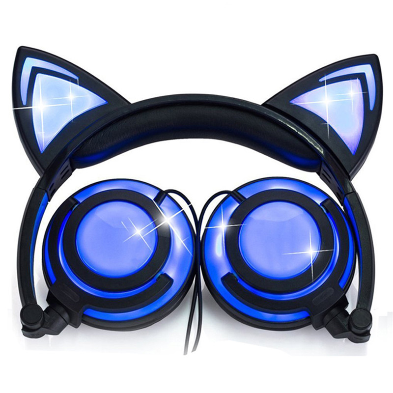 LIMSON Wired Stereo Cartoon Kids Earphone Foldable LED Flashing Cat Ear Cute Headphones for children-in Headphone/Headset from Consumer Electronics