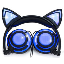 LIMSON Wired Stereo Cartoon Kids Earphone Foldable LED Flashing Cat Ear Cute Headphones for children