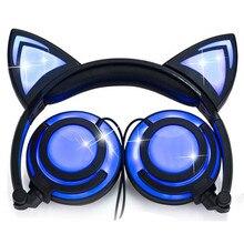 LIMSON Wired Stereo Cartoon Kids Oortelefoon Opvouwbare LED Knippert Cat Ear Leuke Hoofdtelefoon voor kinderen