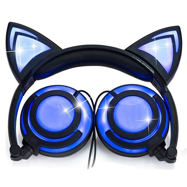LIMSON Wired Stereo Del Fumetto Per Bambini Auricolare Pieghevole LED Lampeggiante Cat Ear Cuffie Carino per i bambini