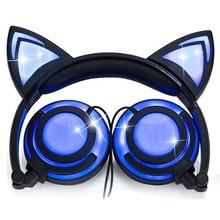 Limson 유선 스테레오 만화 아이 이어폰 foldable led 깜박이 고양이 귀 귀여운 헤드폰 어린이위한