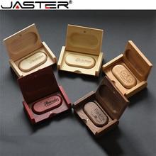 JASTER Fashion hot selling Oval wood bile + flip box USB flash drive 2.0 4GB 8GB 16GB 32GB 64GB External Storage memory disk
