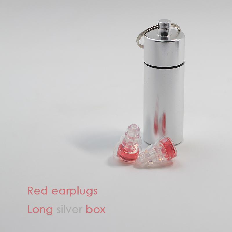 Red earplugs + Long silver box