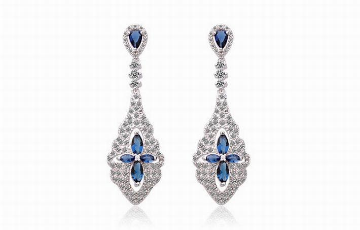 Cubic Zirconia Blue Clover Drop Earrings For Women Gold color Female Wedding Bridal Earring Fine Jewelry Brincos Pingents