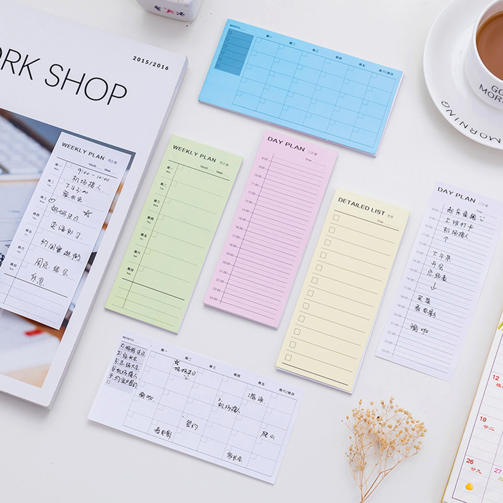 Day plan Week Plan Month plan Detailed list Notebook Notepad Copybook Daily Memos Planner Journal Office Stationery in Memo Pads from Office School Supplies
