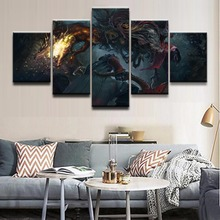 5 Panels Game Bloodborne Creature Dark Warrior Wall Modular Pictures Home Decor Living Room Canvas Art Printed Modern Painting