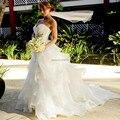Халат Де Mariage Пляж Раффлед Органзы Свадебные Платья Корсет Назад Бисера Белый Свадебное Платье Платье de noiva princesa