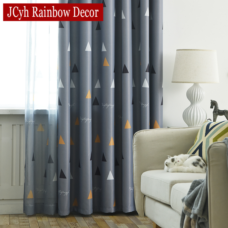 Geometric Blackout Curtains For Living Room Children Kids Bedroom Window Modern Child Blackout Curtain Drapes Pattern Shading