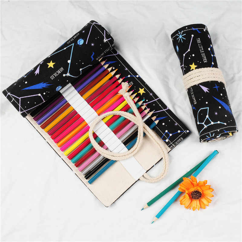12/18/24/36/48/60/72 ดินสอกรณีTrionesปากกาCanvas Wrapเครื่องสำอางค์แต่งหน้าแปรงปากกาเครื่องเขียนของขวัญ