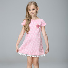 Children 's clothing network yarn children' s dress Europe and the United States lace short – sleeved girls dress