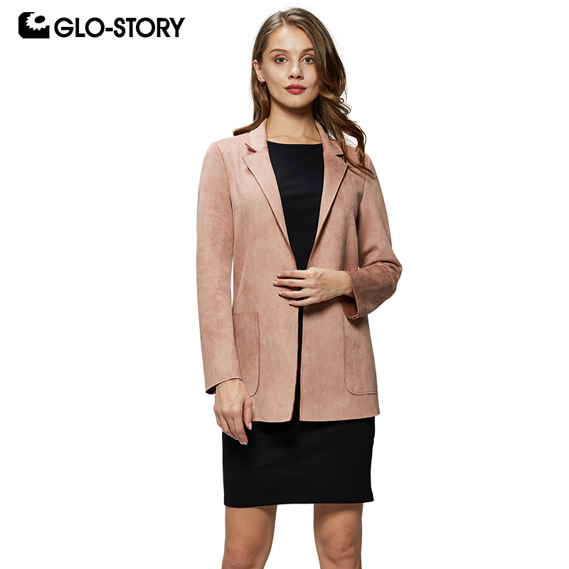 GLO-STORY 2019 Spring Fashion Women Turn-Down Collar   Suede   Faux   Leather   Jacket Office Ladies Work Wear Female Coat WFY-7821