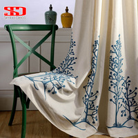 Cotton Linen Fabric Curtains Blackout For Bedroom Trees Leaf Blinds Drapes Window Vorhang Sheer Cortinas For Living Room Kitchen