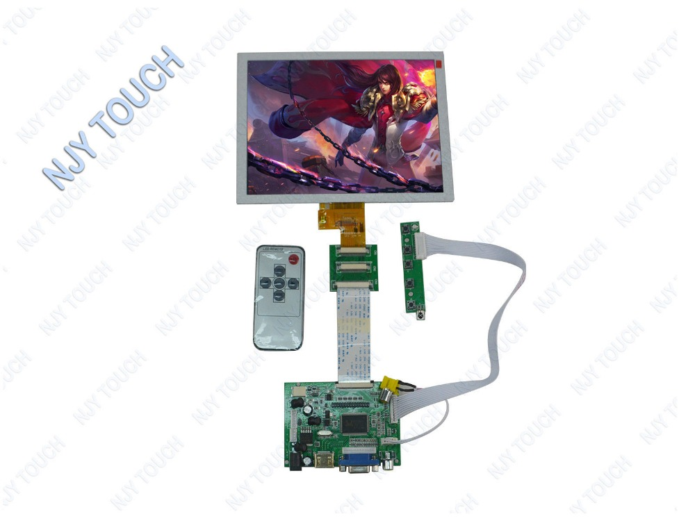 HDMI VGA 2AV LCD Controllers 8inch 1024x768 EJ080NA-04C LCD panel Touch remote