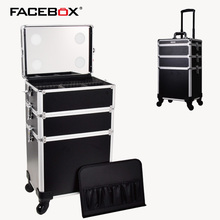 Aluminum Trolley Cosmetic Nail box with trolley and wheels lighted trolley beauty Box multi makeup case