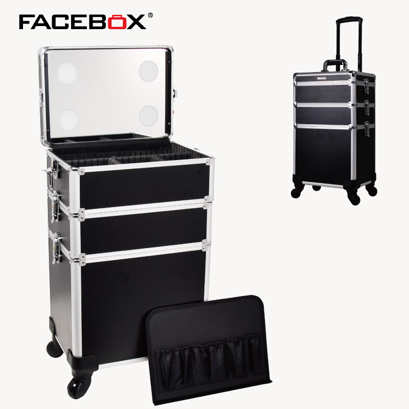 as Box Make up Picture Trolley Kosmetische Beauty Fall Picture Beleuchtete Multi Aluminium As Räder Und Nagel Mit q1SUCxCwZ