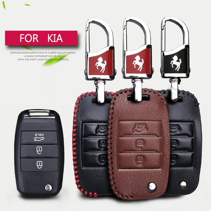 цена на Car Key Smart Case Cover For Kia Rio K2 3 4 Ceed Optima Sorento Sportage 3 Cerato K3 Soul 2017 Genuine Leather Key Ring Shell