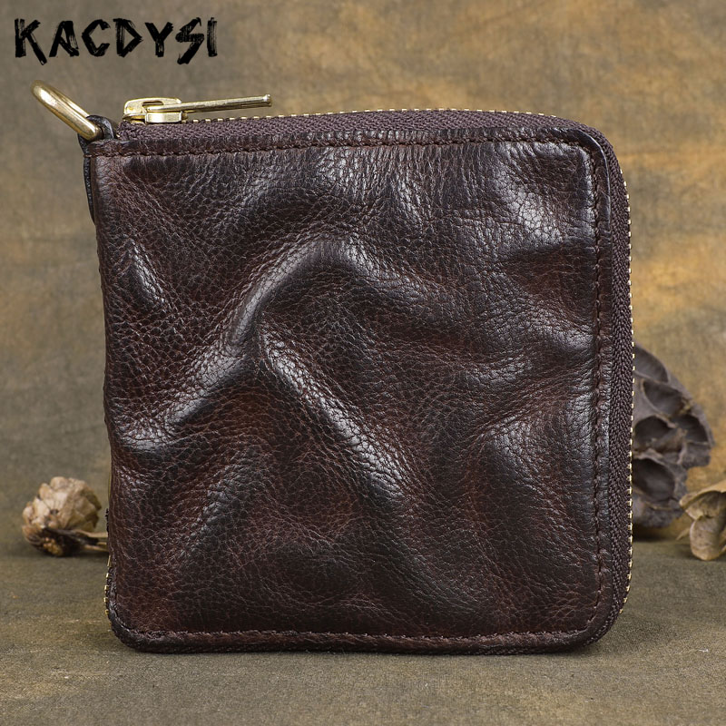 Original Handmade Wallet Leather Genuine Cow Leather Zipper Mens Wallets Retro Money Clips Brush Color Luxury