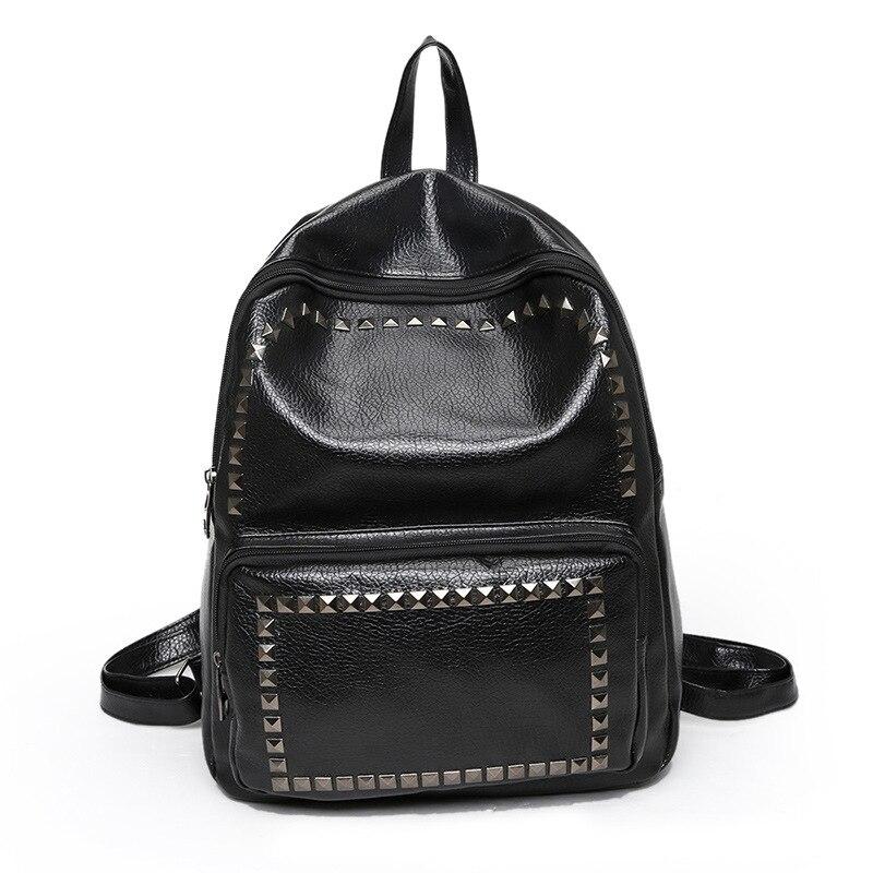 PU Leather Rivet Shoulder Backpack For Women Teenage Girl Female Backpack Rucksack Mochila Escolar Middle School