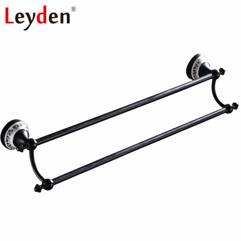 Leyden Double Towel Bar ORB Antique White Porcelain with Flower Base Brass Wall Mounted Pendants Towel