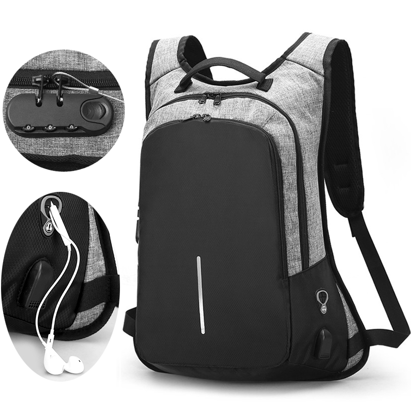 Notebook Men Backpacks 15.6inch Male Bag Campus College Student Anti theft Function Laptop Holder Mochila 15-17in Backpack Black
