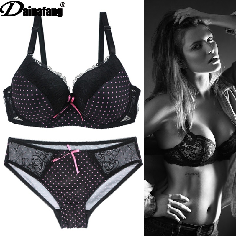 Large cup bra European and American underwear lace set sexy black cute wave point printing bow decoration