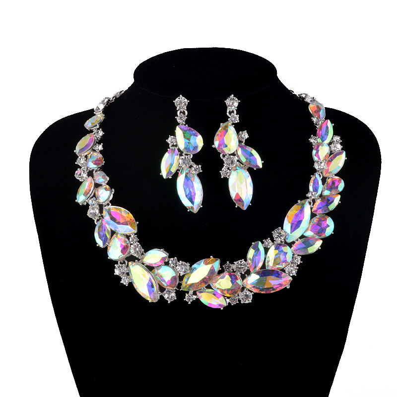 AB color Marquise Rhinestone Bridal Wedding Jewelry Sets Women Party Necklace earrings set Crystal Unique necklace rhinestone necklace with earrings set page 7