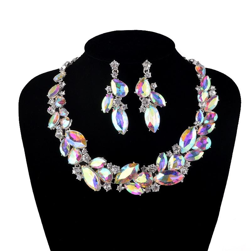 AB barva Marquise nosorogove poročne poročne nakit Set ženskih ogrlice uhani set Crystal unikatna ogrlica