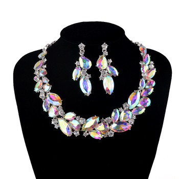 AB color Marquise Rhinestone Bridal Wedding Jewelry Sets Women Party Necklace earrings set Crystal Unique necklace