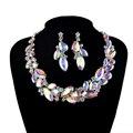AB cor Marquise Rhinestone Nupcial Conjuntos de Jóias de Casamento Das Mulheres Do Partido Colar brincos set colar de Cristal Único