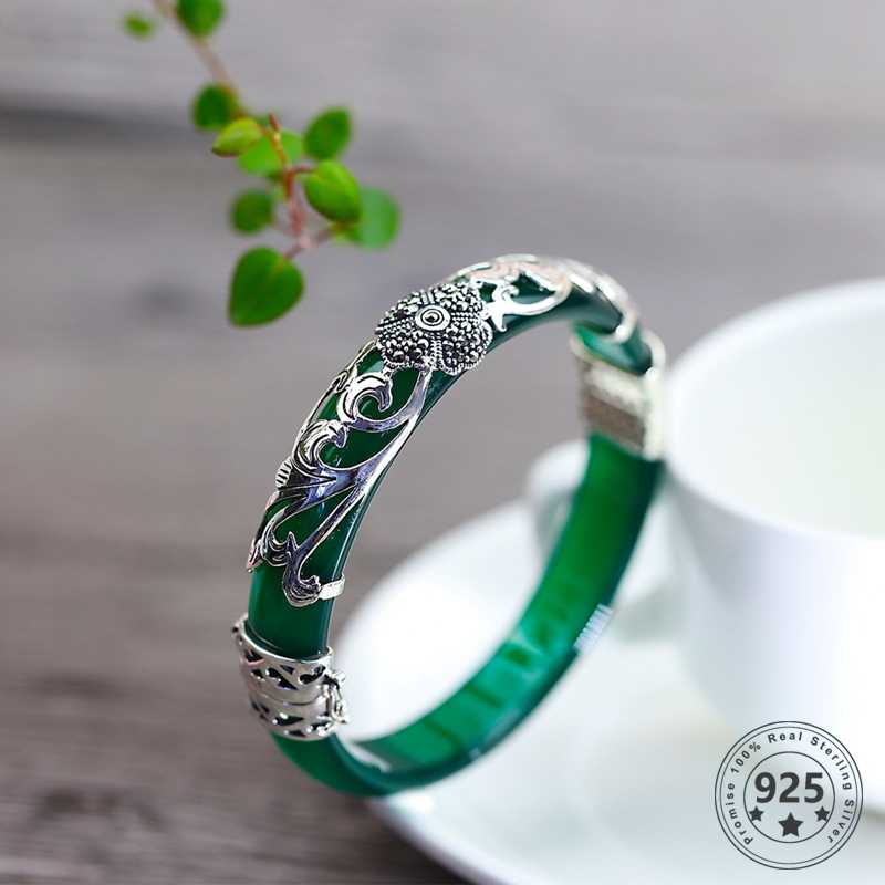 Women Bracelet Women Gifts Opened Fashion Jewelry Ethnic White Handmade Natural Jade Bangles NEW 925 Sterling Silver Jade Bangles