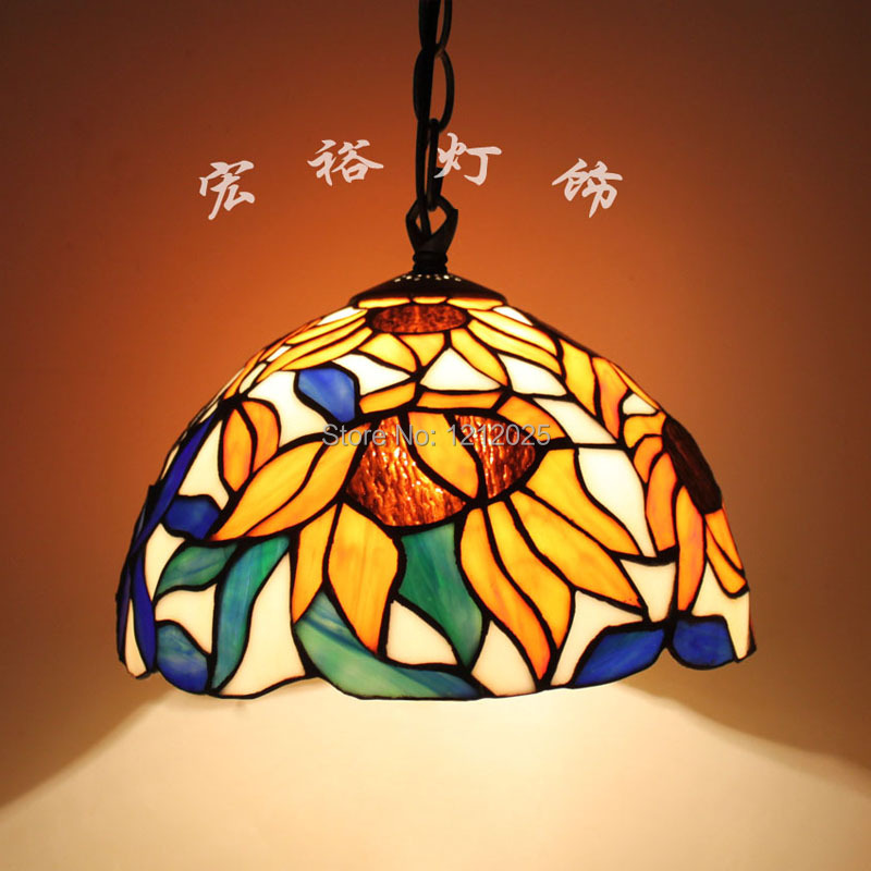 Antique Sunflower Design Tiffany Pendant Lamp Dinning Room Stained ...