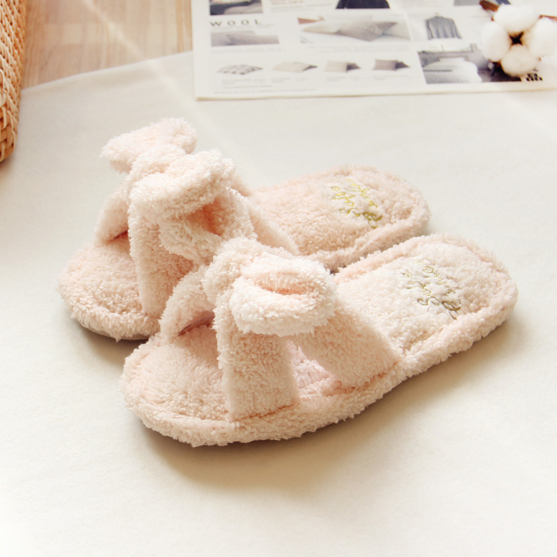 Flock Bowtie Spring Summer Women Home Slippers For Indoor Bedroom House Soft Bottom Cotton Warm Shoes Adult Guests Flat