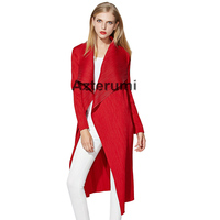 Azterumi Issey Miyake Spring New 2019 Women Fashion Long Trench Women Open Stitch Turn Down Collar Clothes Black Red Blue Coat