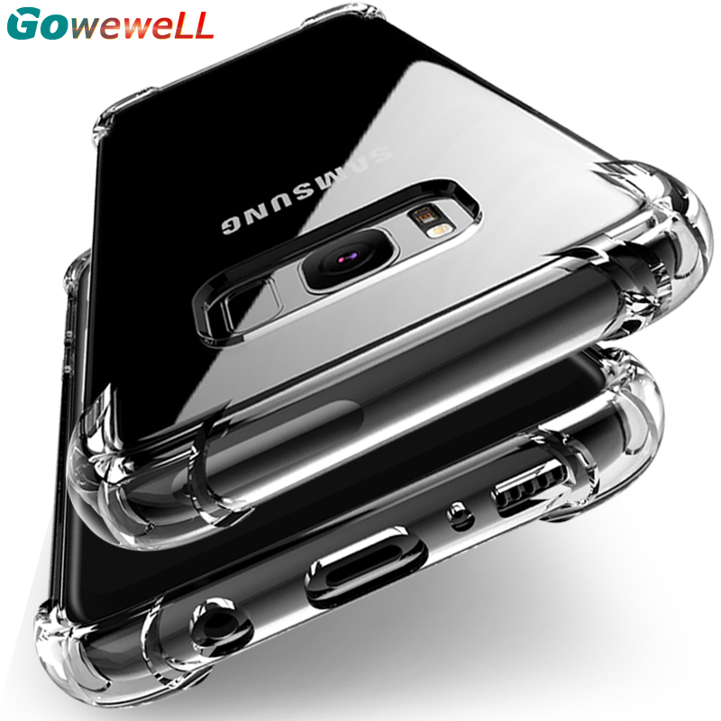 GOWEWELL Clear Transparent Armor Soft Phone Case for Samsung Galaxy S8 S9 Plus Gasbag Protect Cell Case for Galaxy S8Plus S9Plus