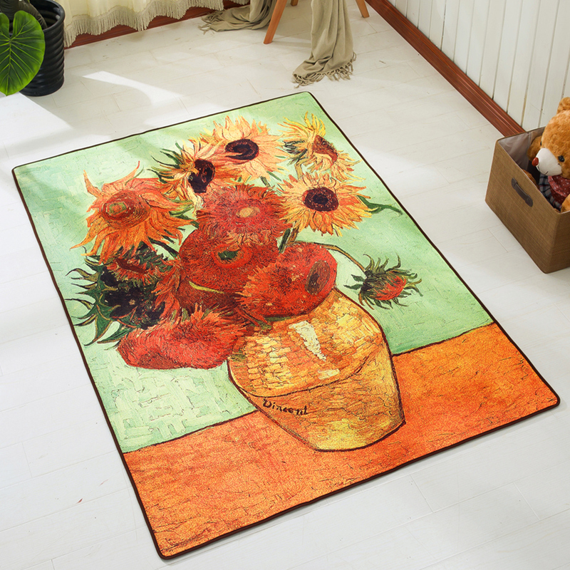Van Gogh sunflower abstract art creative personality carpet modern living room sofa elegant bedroom mat rectangular rug