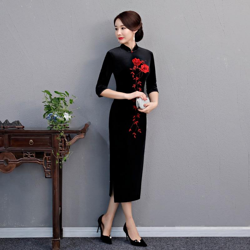 Stile viola Velluto 5xl Vestito Partito Vestiti Del Cinese Mandarino Nero Vestido Size Sottile Qipao Il Plus Moda Cheongsam blu Delle Primavera Di S Donne rosso Lungo Da Collare zFwBMIdq