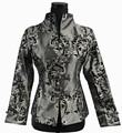 Faddish Gray Chinese tradition Women Silk Satin Jacket Coat Outerwear M L XL XXL XXXL 2306-1