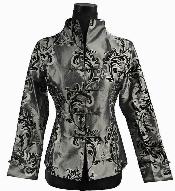 Faddish gris tradición china de las mujeres de seda satinada capa de la chaqueta