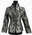 Faddish gris tradición china de las mujeres de seda satinada capa de la chaqueta de abrigo ml xl xxl xxxl 2306-1